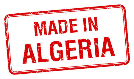 algeria: made in Algeria red square isolated stamp