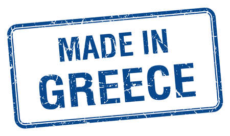 made in Greece blue square isolated stamp
