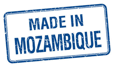 mozambique: made in Mozambique blue square isolated stamp