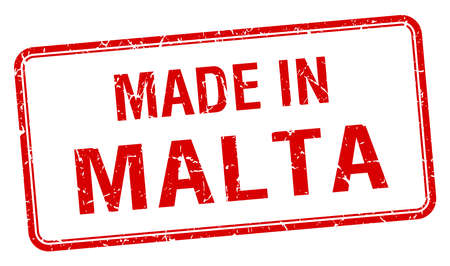 malta: made in Malta red square isolated stamp