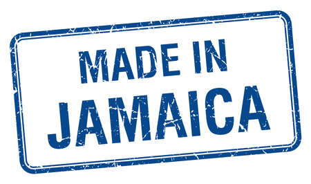 made in Jamaica blue square isolated stamp Vector