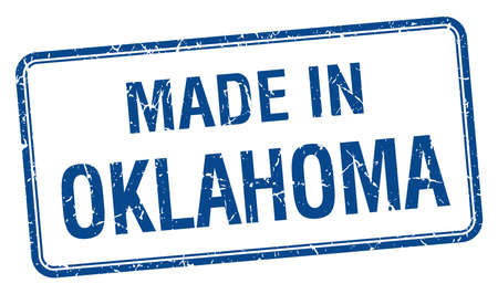 oklahoma: made in Oklahoma blue square isolated stamp