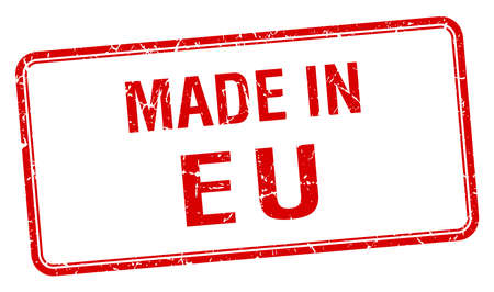 eu: made in eu red square isolated stamp