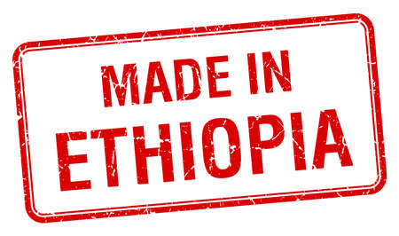 ethiopia: made in Ethiopia red square isolated stamp