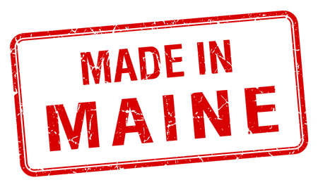 maine: made in Maine red square isolated stamp