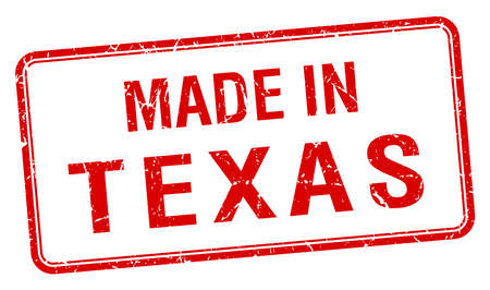made in: made in Texas red square isolated stamp