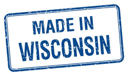 wisconsin: made in Wisconsin blue square isolated stamp Illustration