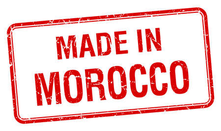 made in morocco: made in Morocco red square isolated stamp
