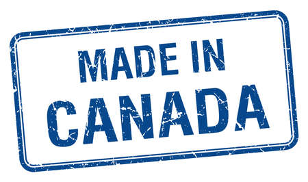 canada stamp: made in Canada blue square isolated stamp