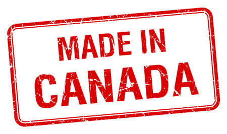 canada stamp: made in Canada red square isolated stamp
