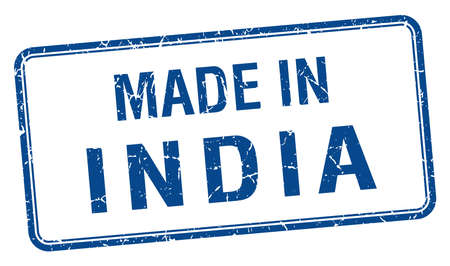 produced: made in India blue square isolated stamp Illustration