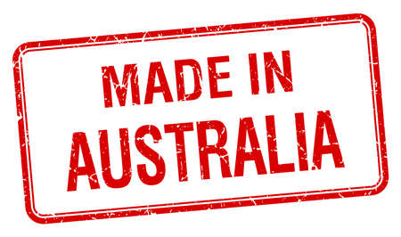 australia stamp: made in Australia red square isolated stamp