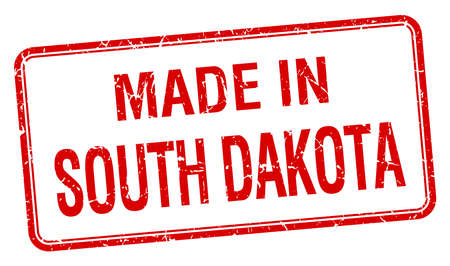 south dakota: made in South Dakota red square isolated stamp