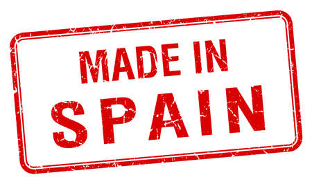 made in spain: made in Spain red square isolated stamp