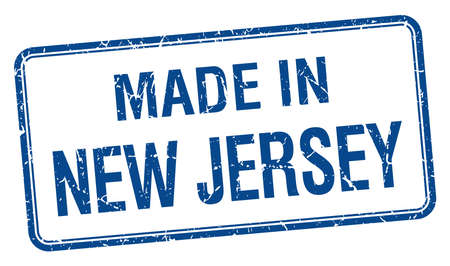 new jersey: made in New Jersey blue square isolated stamp