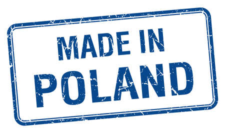made in Poland blue square isolated stamp Vector