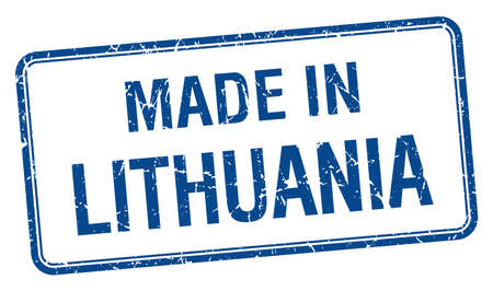 lithuania: made in Lithuania blue square isolated stamp Illustration
