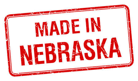 nebraska: made in Nebraska red square isolated stamp Illustration