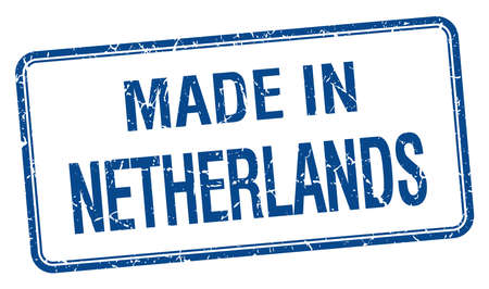 made in netherlands: made in Netherlands blue square isolated stamp Illustration