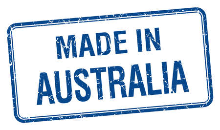 australia stamp: made in Australia blue square isolated stamp