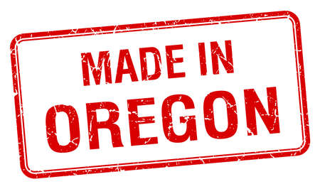 oregon: made in Oregon red square isolated stamp