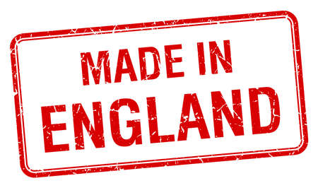 em: made in England red square isolated stamp