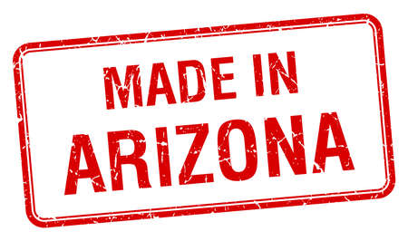 made in: made in Arizona red square isolated stamp