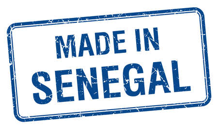 senegal: made in Senegal blue square isolated stamp