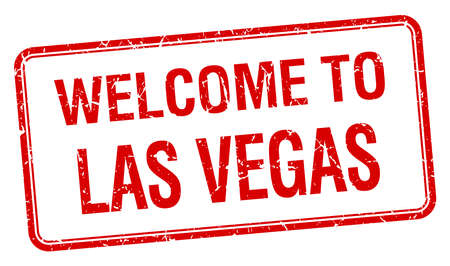 welcome to Las Vegas red grunge square stamp Vector