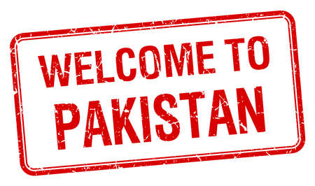 red grunge: welcome to Pakistan red grunge square stamp Illustration