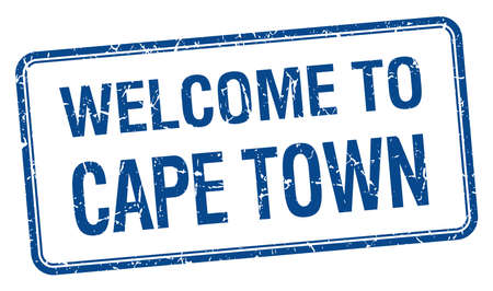 cape town: welcome to Cape Town blue grunge square stamp Illustration