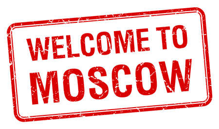 red square moscow: welcome to Moscow red grunge square stamp