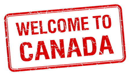 canada stamp: welcome to Canada red grunge square stamp