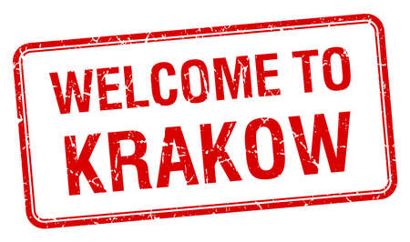 krakow: welcome to Krakow red grunge square stamp Illustration