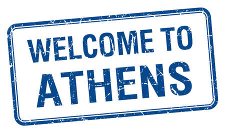 athens: welcome to Athens blue grunge square stamp Illustration
