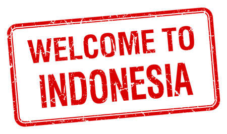 red grunge: welcome to Indonesia red grunge square stamp Illustration