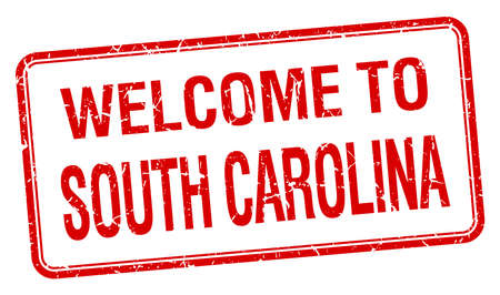 and south carolina: welcome to South Carolina red grunge square stamp Illustration