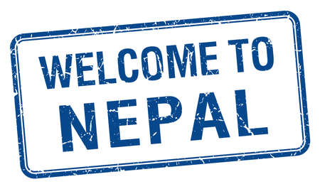nepal: welcome to Nepal blue grunge square stamp