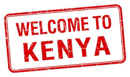 kenya: welcome to Kenya red grunge square stamp