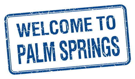 palm springs: welcome to Palm Springs blue grunge square stamp