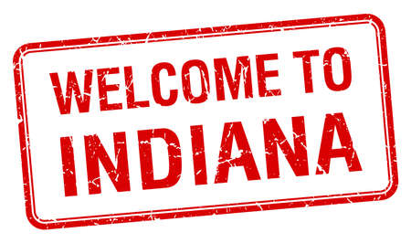 indiana: welcome to Indiana red grunge square stamp