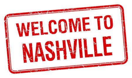 nashville: welcome to Nashville red grunge square stamp Illustration