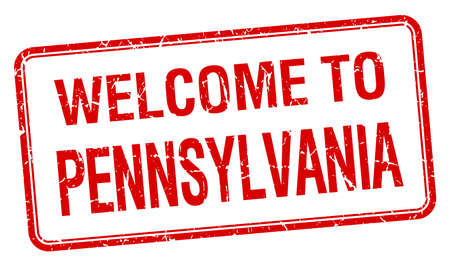 pennsylvania: welcome to Pennsylvania red grunge square stamp Illustration