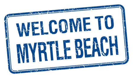 myrtle: welcome to Myrtle Beach blue grunge square stamp