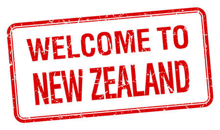 welcome to New Zealand red grunge square stamp