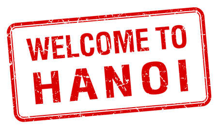 red grunge: welcome to Hanoi red grunge square stamp