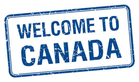 canada stamp: welcome to Canada blue grunge square stamp Illustration