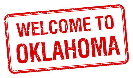 oklahoma: welcome to Oklahoma red grunge square stamp Illustration