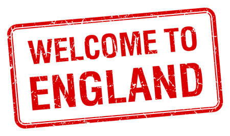 red grunge: welcome to England red grunge square stamp