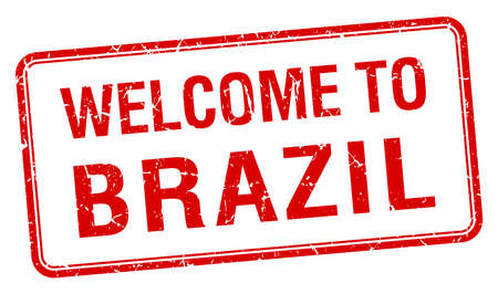 red grunge: welcome to Brazil red grunge square stamp